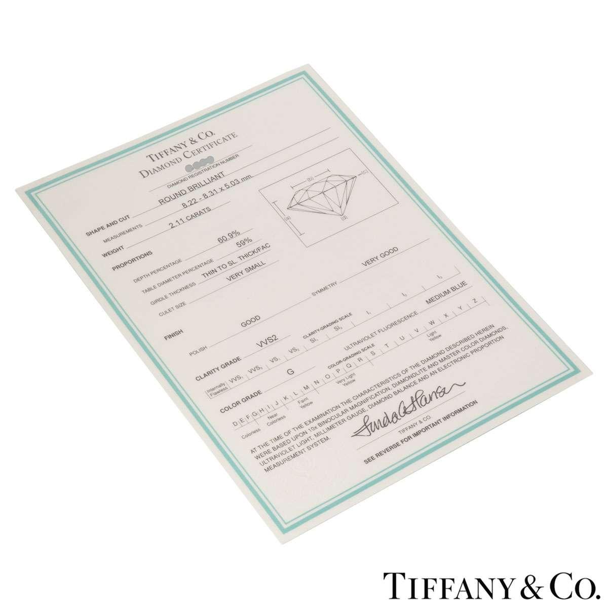 Tiffany & Co. Platinum Diamond Setting Band Ring 2.11ct G/VVS2